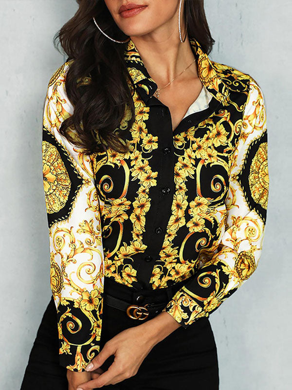Sxey Printed Lapel Long Sleeve Blouses&shirts Tops
