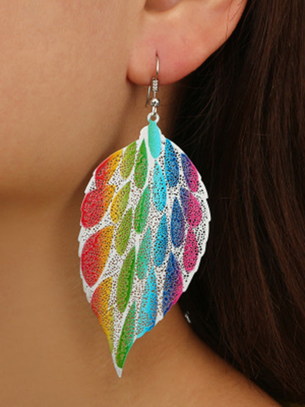 Colorful Printed Hollow Leaf Earrings Accessories