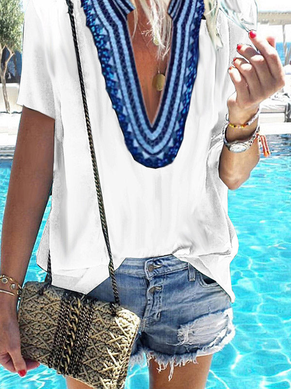 Loose Printed Deep V-neck Short Sleeve T-shirt