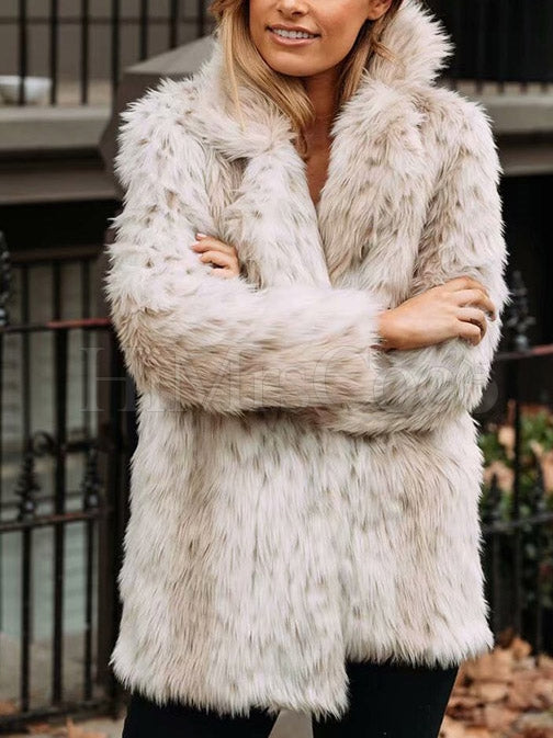 Faux Fox Fur Warm Lapel Coats