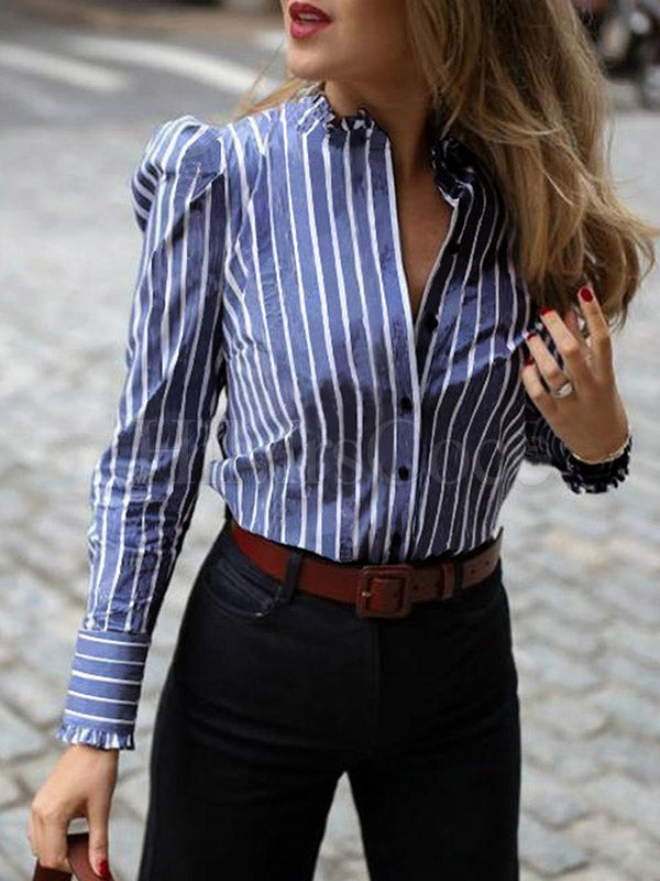 Striped V-neck Long Sleeves Blouses&shirts Tops