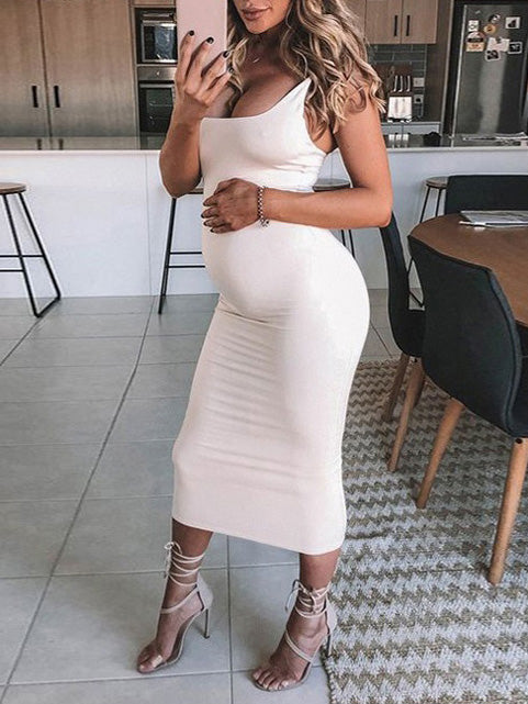 Maternity Spaghetti-neck Wrap Maxi Dress