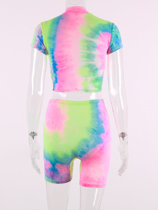 Tie Dye Short Sleeve Tees And Shorts Suits