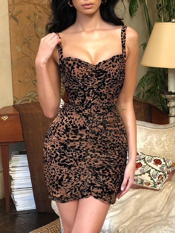 Leopard Print V Neck Mini Dress