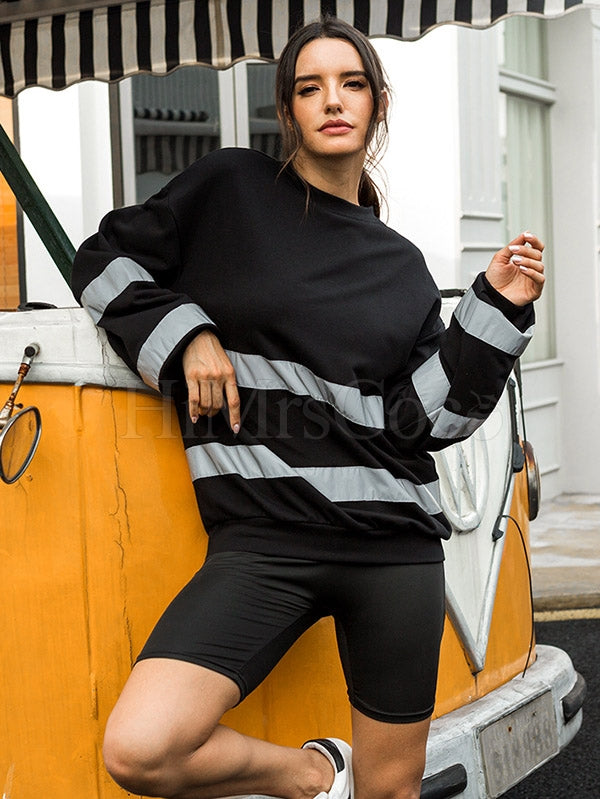 Reflective Striped Split-joint Sweatshirt