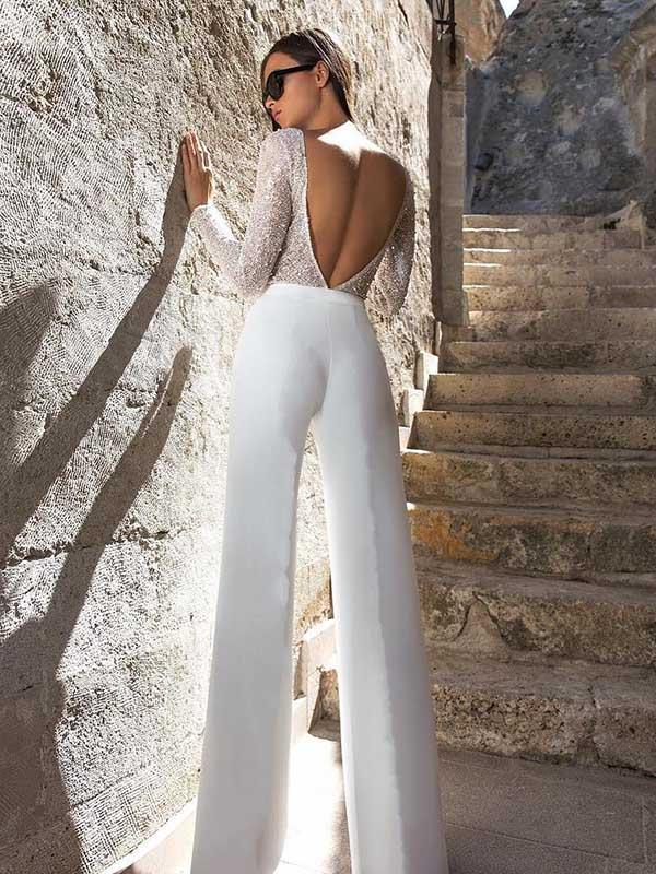 Long Sleeves Wide Leg Long Jumpsuits