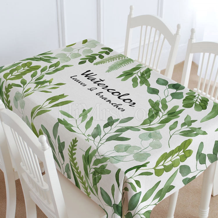 Leaves & Branches Pattern Casual Printed Tablecloth