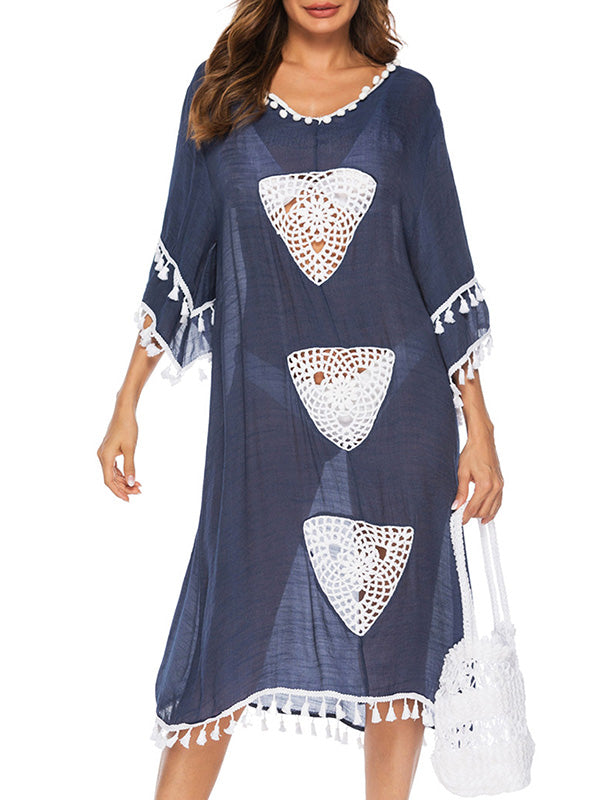Hollow Tassel-trimmed Beach Bikini Cover-Ups