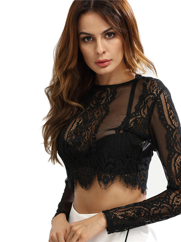 Lace See-through Long Sleeves T-shirt
