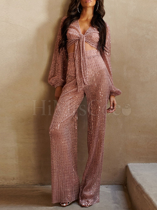 Bowknot Sequined Bandage Jumpsuits