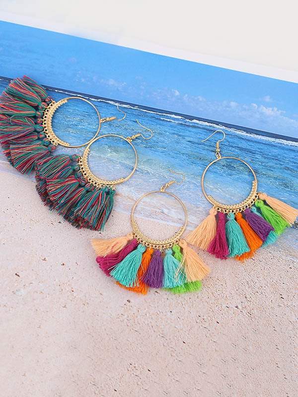 Bohemia Ring Tassel Earrings Accessories