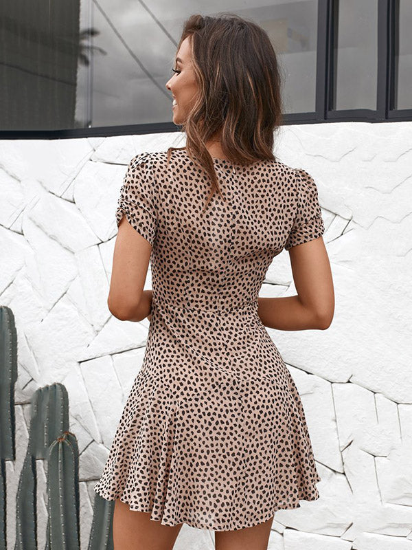 Fashion V-neck Spots Falbala Mini Dress