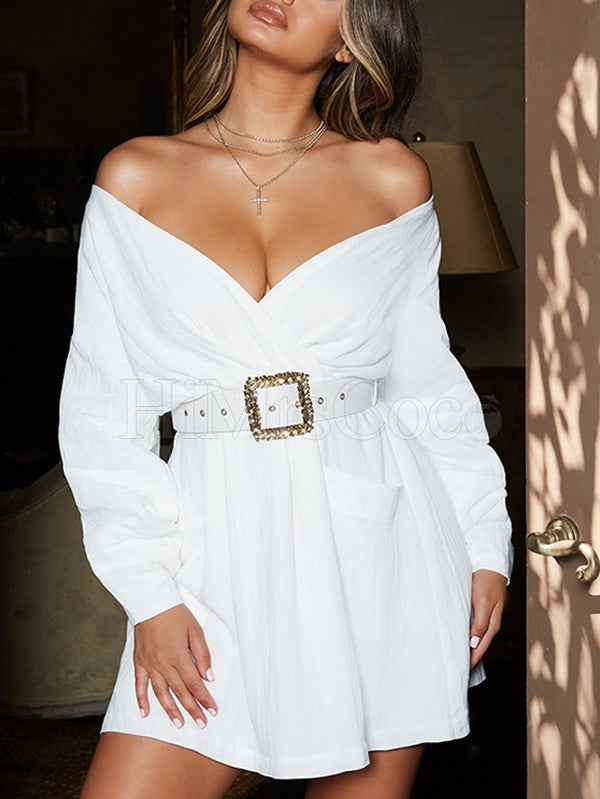 White Off-the-shoulder Long Sleeve Mini Dress