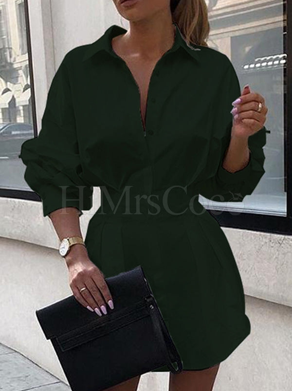 Puff Sleeve Solid Shirt Mini Dress