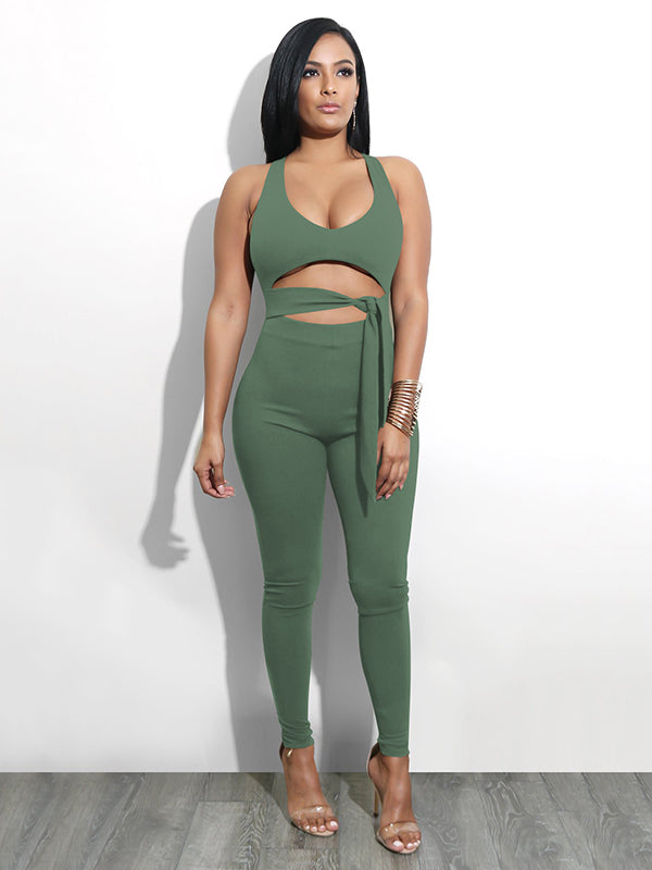 Front Bandage Hollow Out Jumpsuits