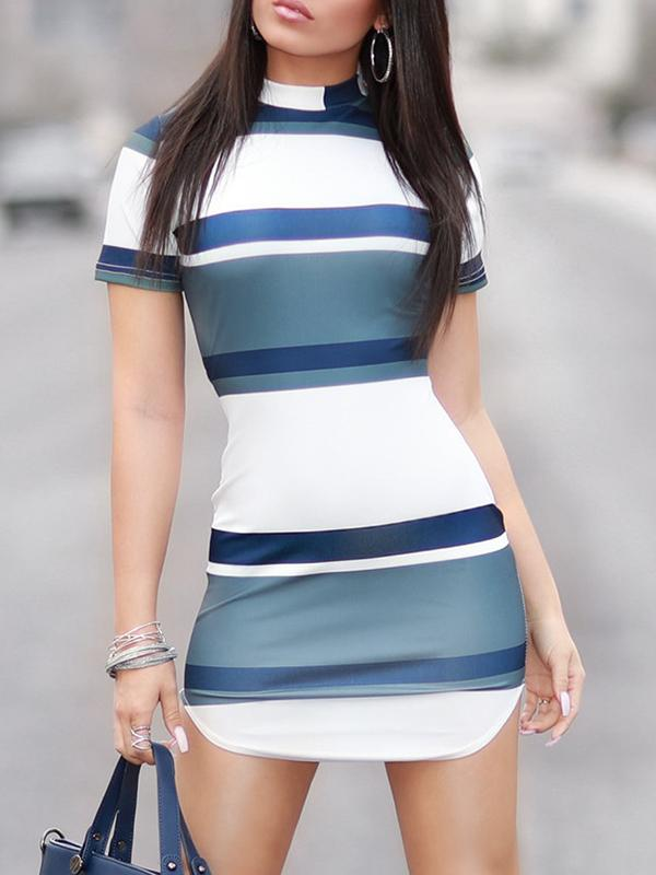 Sexy Striped Bodycon Mini Dress