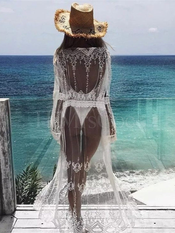 Embroidered See-Through Bikini Cover-Up