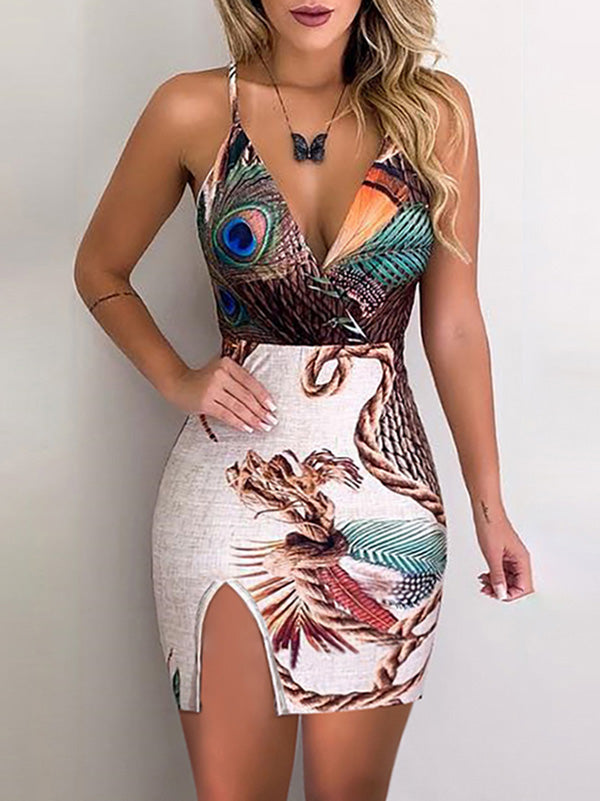 Peacock Feather Print Thigh Slit Slip Mini Dress