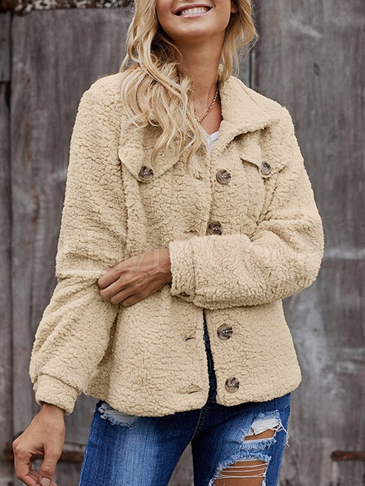 Plain Casual Single-Breasted Woolen Coat