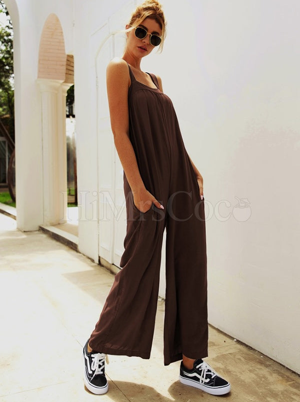 Loose Solid Strap Jumpsuits