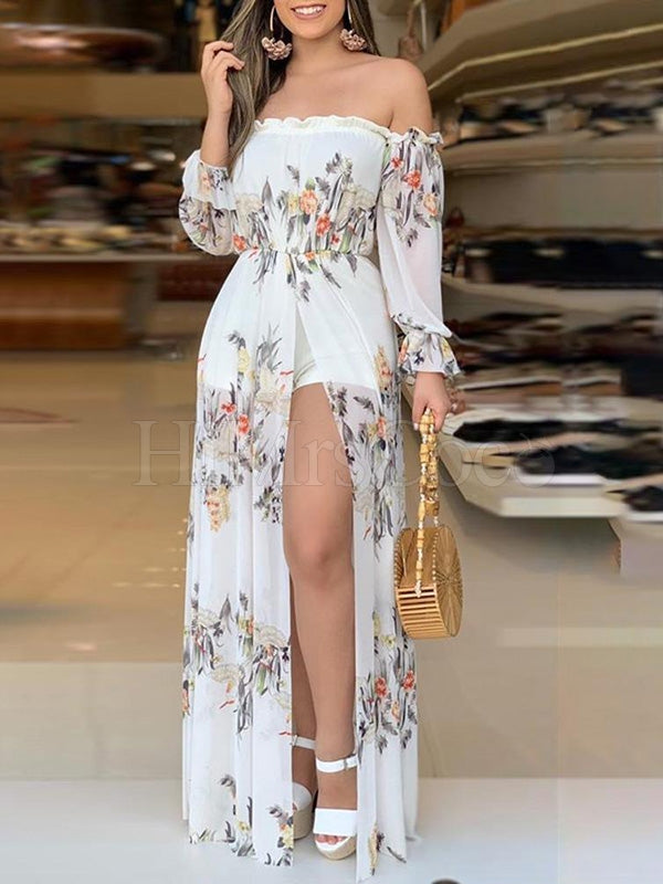 White Fashion Off-the-shoulder Maxi Dress
