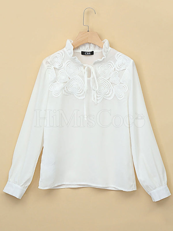 White Long Sleeve Blouses&shirts Tops