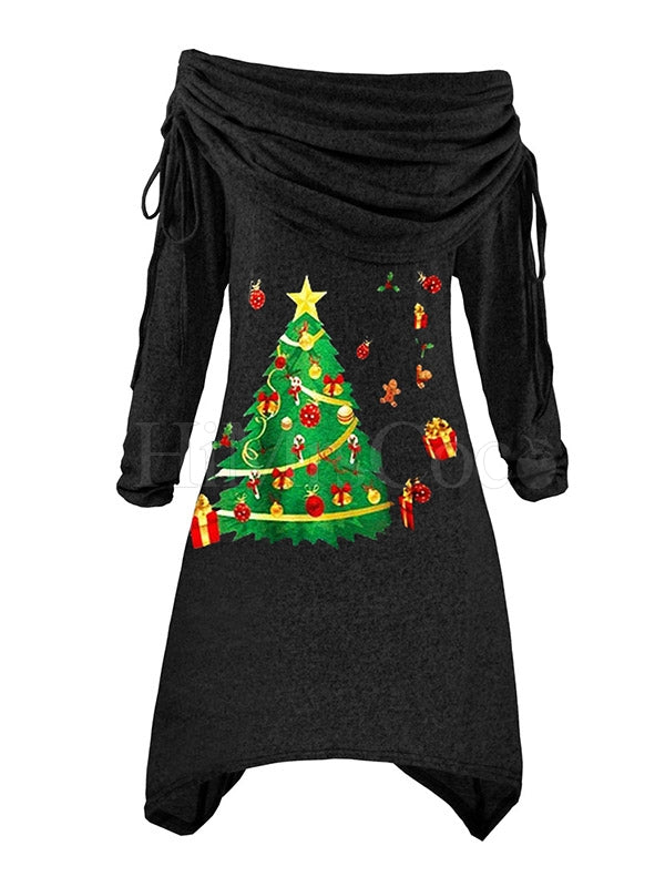 Cropped Drawstring Ruffled Christmas Knitting Mini Dress