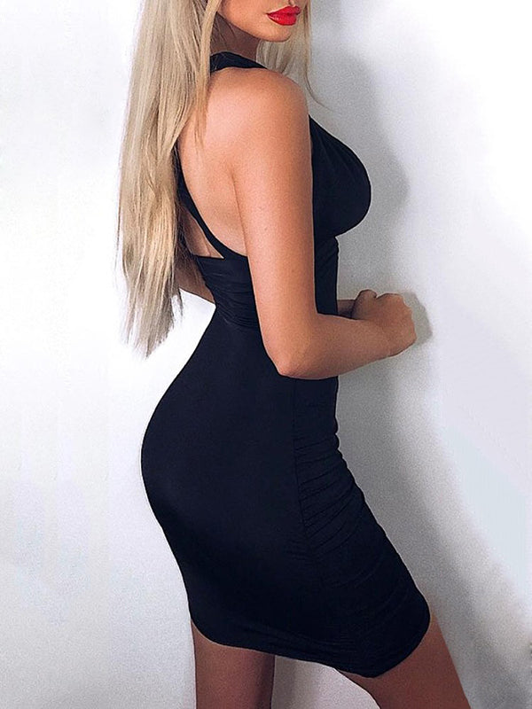 Sexy V-neck Backless Mini Dress