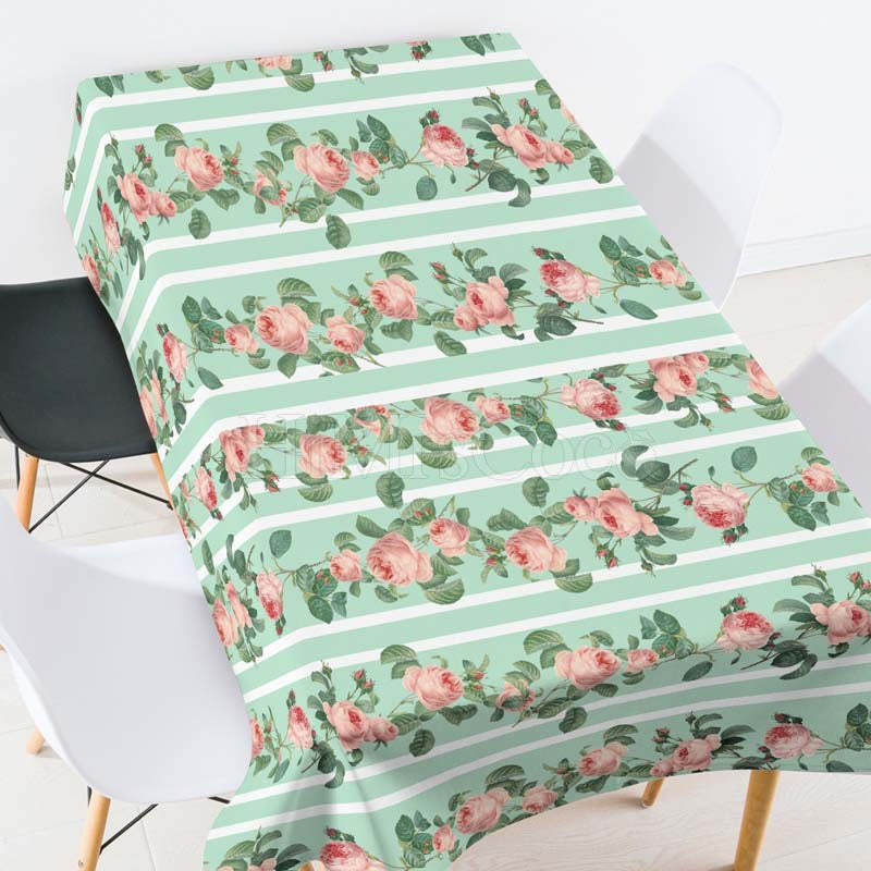 Rose Green Plants Striped Casual Printed Tablecloth