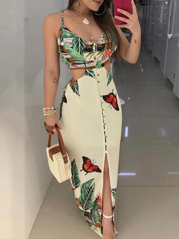 Flower Printed V-neck Cut Out Maxi Dress