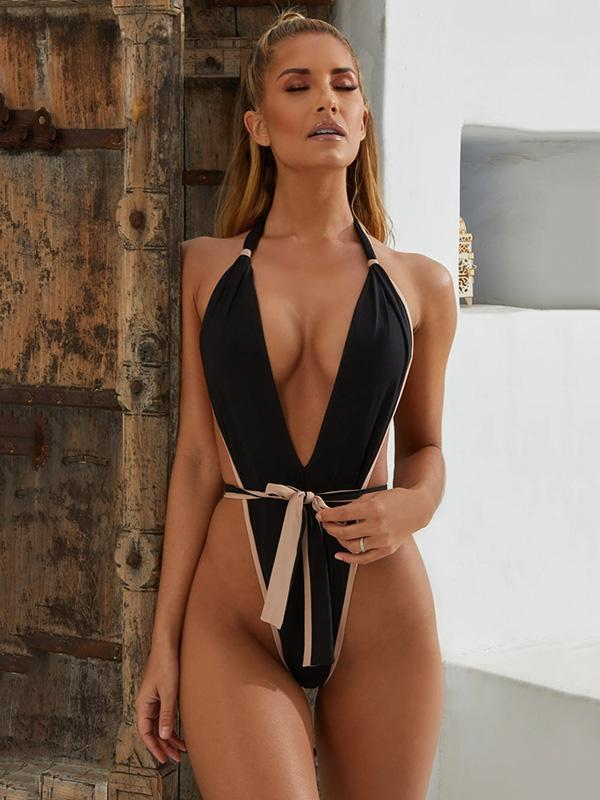 Plain Lace Up Thong One-piece Swimwear