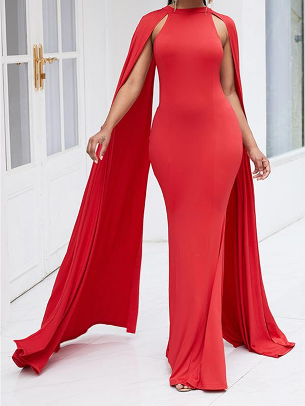 Batwing Sleeve Solid Colors Maxi Dress