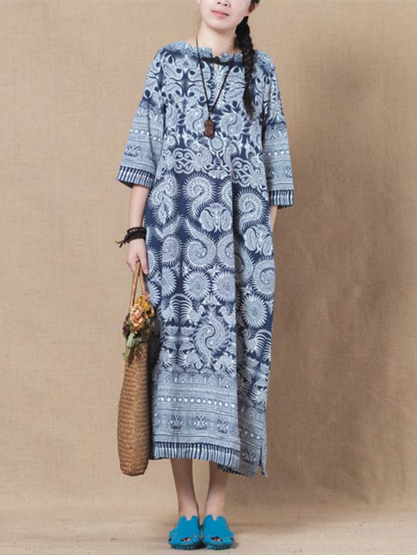 Blue Batik Linen 3/4 Sleeves Long Dress