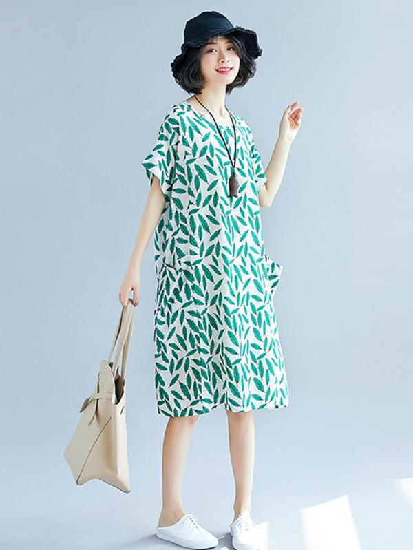 New Style Printed Floral Ramie Cotton Loose Midi Dress