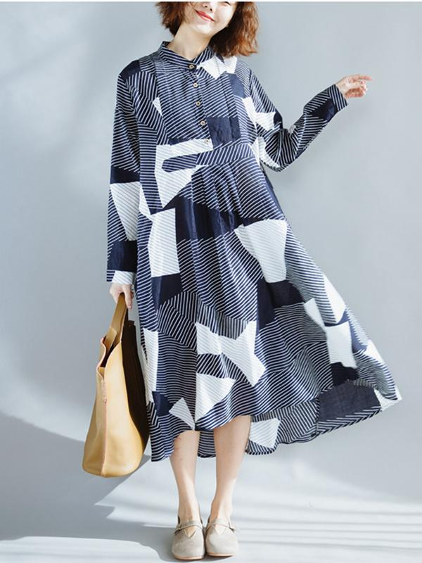 Navy-blue Split-joint Plaid Blouse Dress