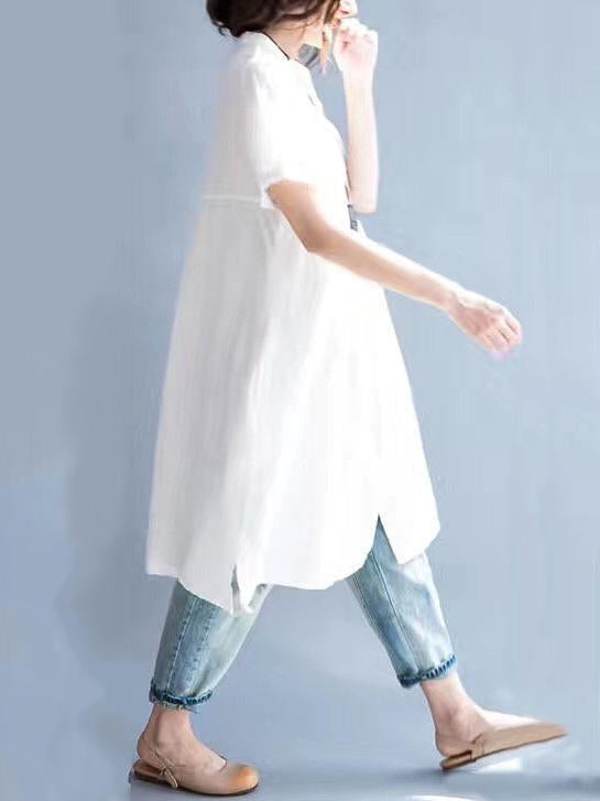 Pure Color Loose Comfortable Blouse Dress