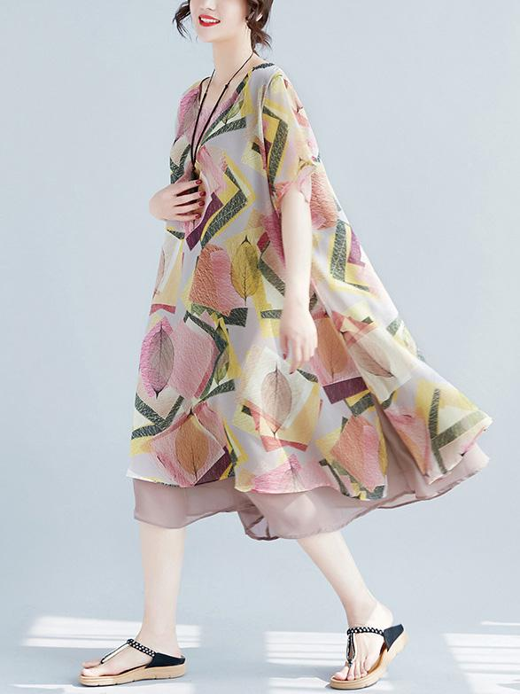 Super Loose Chiffon A-line Big Hem Colorful Dress