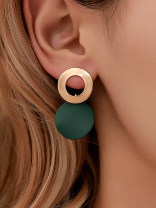 Geometric Metal Disc Earrings Accessories