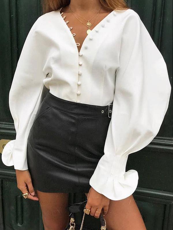 Long Sleeves V-neck White Blouses&shirts Tops