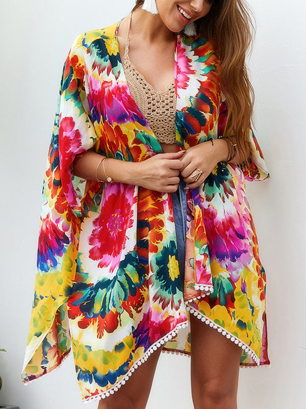 Multicolor Tie-dyed Printed Shawl Dress