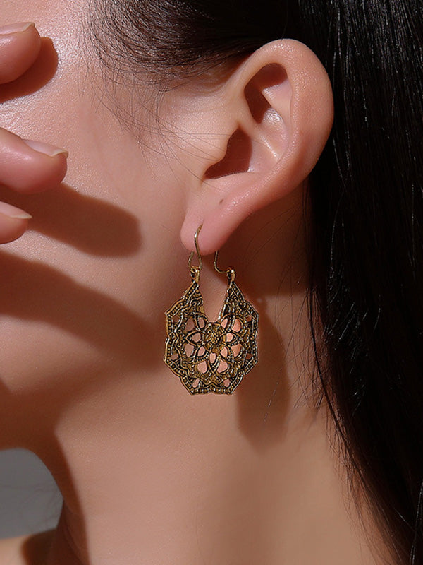 Vintage Metal Hollow Carved Earrings