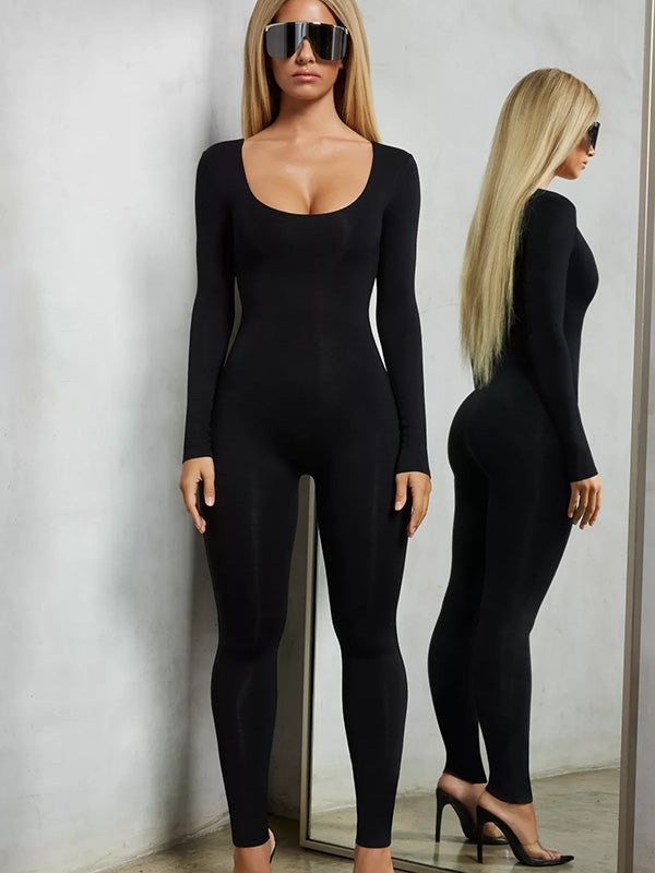 Solid Long Sleeve Casual Jumpsuits