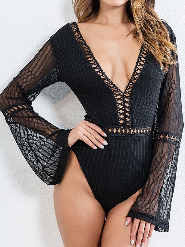 Sexy Lace 2 Colors Long Sleeves Bodysuit