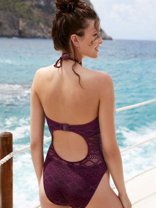 Hollow Gauze Plain Lace-up One-piece Swimsuit