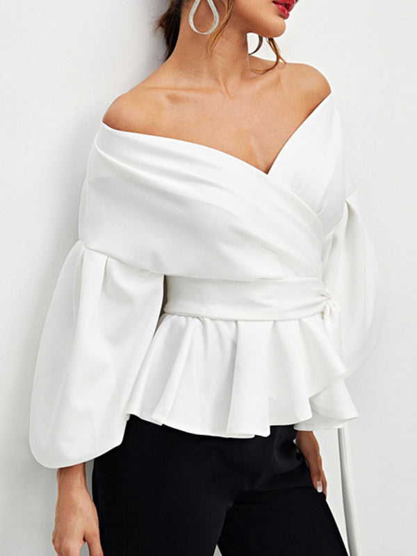 Sexy V-neck Bow-embellished Blouses&shirts Tops