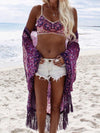 Chiffon Tassel Ornamental Vacation Floral-Print Beach Cover-Ups