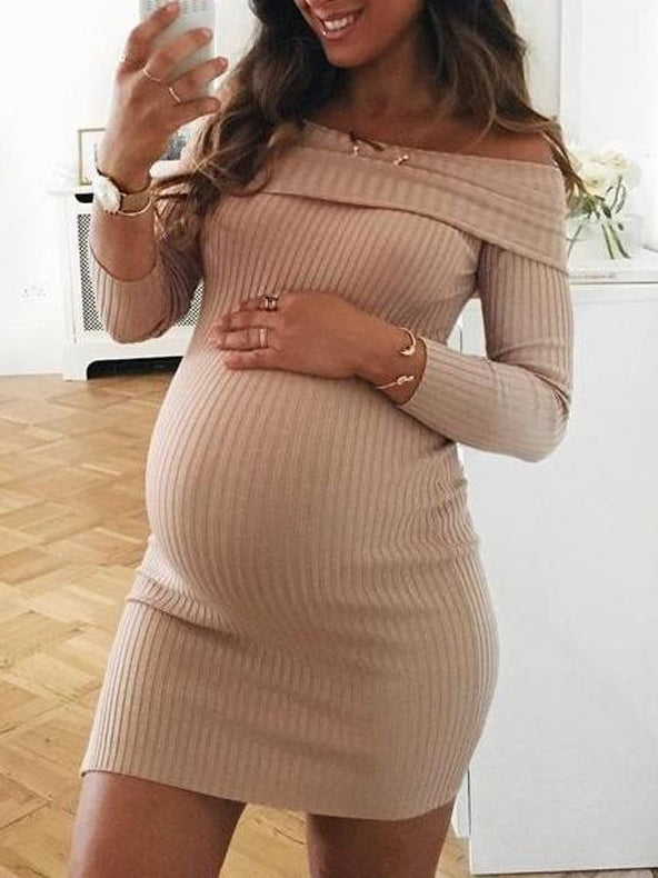 Maternity Off-the-shoulder Mini Dress