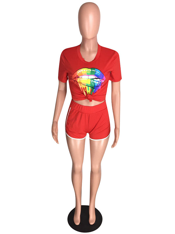 Lips Graphic Tees And Contrast Trim Shorts Sport Suits