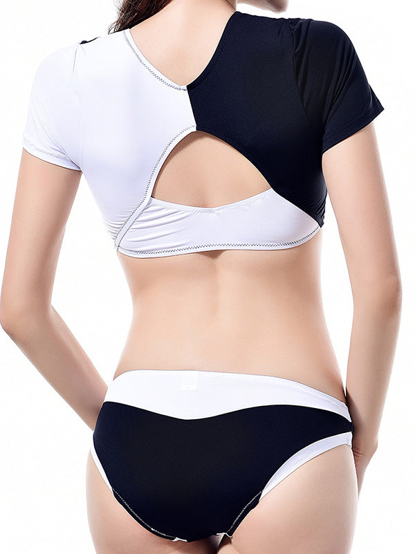 Sports Sexy Contrast Color Tankini Swimsuit