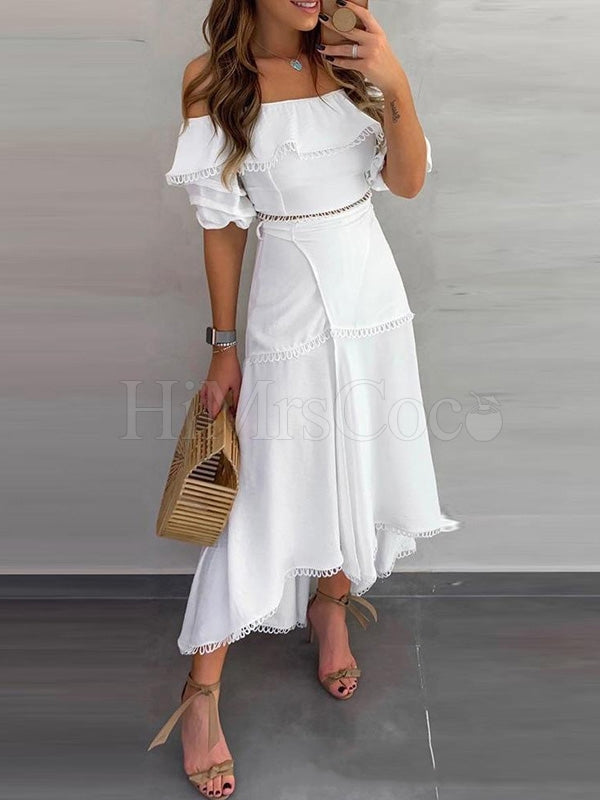 Off-the-shoulder White Maxi Dress